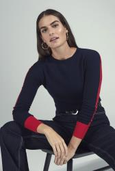 Light Blue Colour Block Knitted Jumper