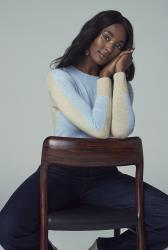 Light Blue Colour Block Knitted Jumper