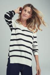 Wool Blend Stripe V Neck Sweater