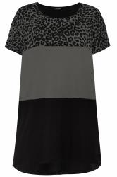 Charcoal Grey Animal Print Colour Block Top