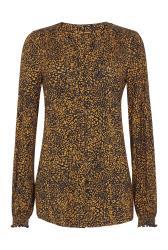 Brown Printed Shirred Jersey Blouse