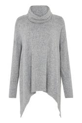 Grey Marl Hanky Hem Cowl Neck Top