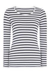 Navy and White Long Sleeve Scoop Neck Tee
