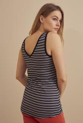Black and White Stripe V Neck Tank Top