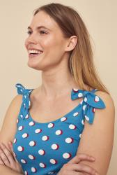 Blue Polka Dot Tie Shoulder Vest Top