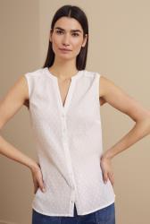 White Cotton Dobby Sleeveless Top