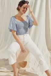 Embroidered Hem Crop Flare Jean