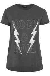 Charcoal Grey Rock Slogan Print Stud Top