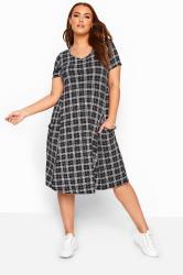 Black Check Drape Pocket Dress