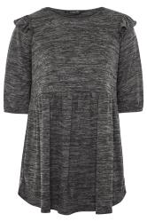 Charcoal Grey Marl Frill Knitted Peplum Top
