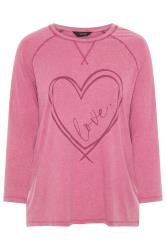 Pink Acid Wash Love Heart Print Top