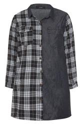 Black Mixed Check Denim Shirt