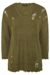 Khaki Distressed Knitted Jumper