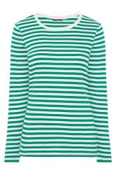 Green & White Stripe Long Sleeve Top