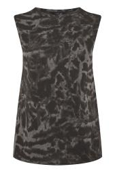 Black Tie Dye Shoulder Pad Sleeveless Top