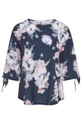 YOURS LONDON Navy Floral Split Sleeve Top