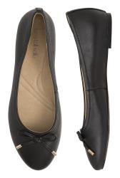 Black Zita Bow Detail Leather Ballerina