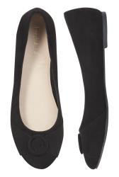 Black Round Toe Ring Ballerina