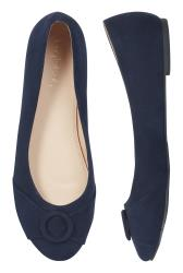 Navy Round Toe Ring Ballerina