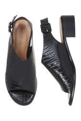 Black Croc Slingback Heeled Sandals