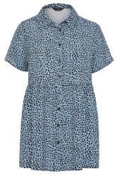 Blue Dalmatian Print Smock Shirt