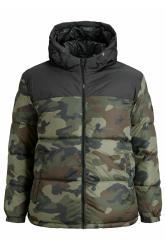 JACK & JONES Khaki Camo Colour Block Drew Puffer Coat
