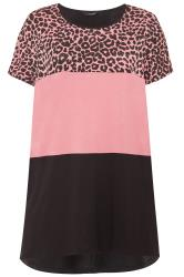 Rose Pink Animal Print Colour Block Top