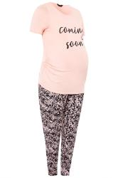 BUMP IT UP MATERNITY Pink 'Coming Soon' Lounge Set