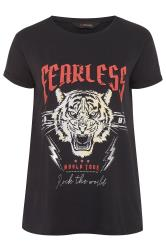 Black 'Fearless' Slogan Tiger Print Top