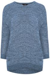 Blue Marl Chunky Knitted Jumper