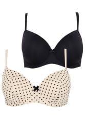 2 PACK Black Polka Dot & Nude Moulded Balcony T-Shirt Bras