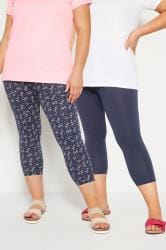 2 PACK Navy Cropped Floral Leggings