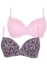 2 PACK Pink & Black Lace Effect Underwired Bras