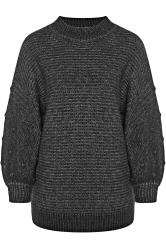 Black Marl Balloon Sleeve Chunky Knitted Jumper