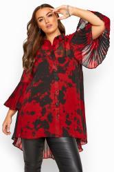 Red Tie Dye Pleated Longline Shirt