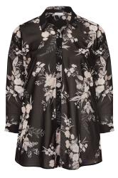 YOURS LONDON Black Floral Chiffon Shirt