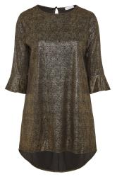 YOURS LONDON Black & Gold Foil Flute Sleeve Tunic