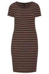 Black & Rust Stripe Ribbed Midi Dress