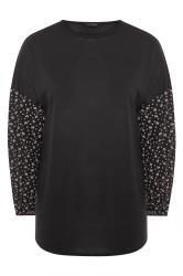 Black Ditsy Sleeve Knitted Top