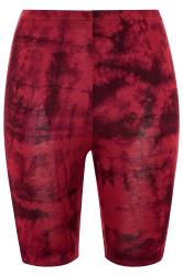 LIMITED COLLECTION Wine Red Tie Dye Cycling Shorts
