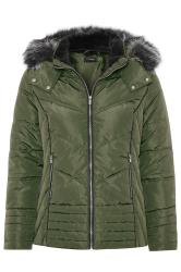 Khaki Green PU Trim Panelled Puffer Jacket