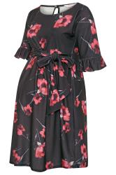 BUMP IT UP MATERNITY Black Floral Ruffle Sleeve Dress