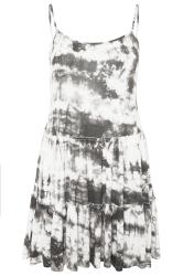 Grey Tie Dye Strappy Tiered Peplum Smock Tunic