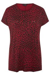 Berry Red Leopard Print Dipped Hem T-Shirt