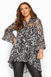 Grey Leopard Print Metallic Pleated Longline Shirt