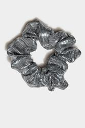 Grey Metallic Scrunchie