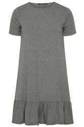 LIMITED COLLECTION Charcoal Grey Marl Frill Hem Dress