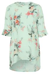 YOURS LONDON Sage Green Floral Flute Sleeve Tunic