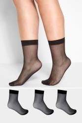 3 PACK Black Sheer Ankle Socks