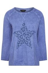 Blue Acid Wash Animal Star Print Top